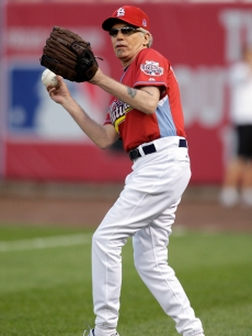 Billy Bob Thorton hits the field during the Taco Bell All-Star Legends &amp; Celebrity Softball Game at Busch Stadium in St. Louis on July 12, 2009