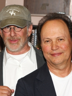 Steven Spielberg and Billy Crystal go backstage at 'West Side Story' on Broadway in New York City on July 14, 2009