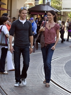 Derek Hough and Shannon Elizabeth enjoy some retail therapy at The Grove in Los Angeles on July 15, 2009