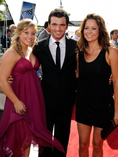 'Dancing With the Stars' alums Shawn Johnson, Tony Dovolani and Brooke Burke pose on the red capret at the 2009 ESPY Awards in LA July 15, 2009