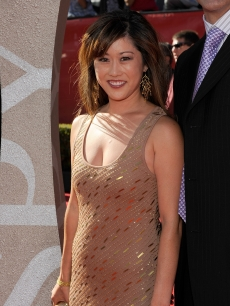 Olympic figure skater Kristi Yamaguchi smiles on the red carpet at the 2009 ESPY Awards in LA on July 15, 2009