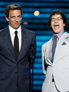 'SNL' funnymen Seth Meyers and Andy Samberg take the stage during the 2009 ESPY Awards in LA on July 15, 2009