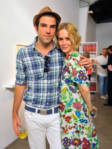 Zachary Quinto and Sarah Paulson strike a pose during the reception for 'Jessica Lange's: 50 Photographs 1992-2008' at The Rose Gallery in Santa Monica on July 18, 2009