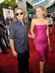 David Spade and Leslie Mann share a laugh on the red carpet at the premiere of 'Funny People' in Hollywood on July 20, 2009