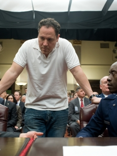 Robert Downey Jr., Don Cheadle, and Jon Favreau in 'Iron Man 2'