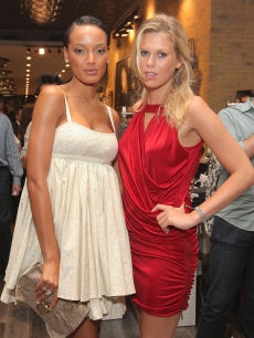 Models Selita Ebanks and Alexandra Richards look glamorous at the the GUESS Flagship Boutique opening in New York City on July 22, 2009