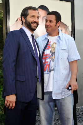 Judd Apatow and Adam Sandler attend the premiere of 'Funny People'in Hollywood on July 20, 2009