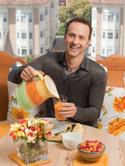 Brian Boitano pours himself a drink on 'What Would Brian Boitano Make?'