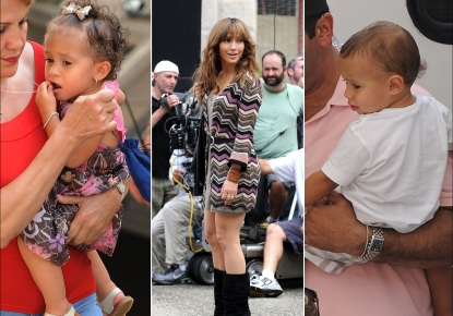 Jennifer Lopez's twins, Emme and Max, visit mom on the set of her film, 'The Back-Up Plan,' in NYC on July 16, 2009