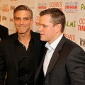 George Clooney and Matt Damon arrive at the CineVegas opening night premiere of 'Ocean's Thirteen' benefiting The International Rescue Committee for Not On Our Watch, held at the Palms Casino Resort on June 6, 2007 in Las Vegas