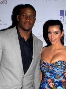 Reggie Bush and Kim Kardashian at the 2009 Moves Magazine Super Bowl party in St. Petersburg, Fla.