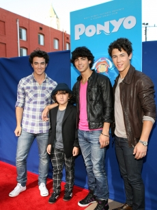 Frankie Jonas and brothers Kevin Jonas, Joe Jonas, and Nick Jonas of the Jonas Brothers arrive for the Industry Screening Of Walt Disney Pictures&#8217; &#8216;Ponyo&#8217; at the El Capitan Theatre on July 27, 2009 in Hollywood