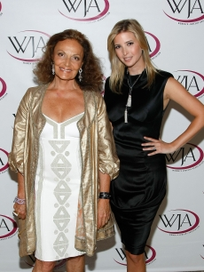 Designer Diane Von Furstenberg and recently engaged Ivanka Trump pose on the red carpet at the 26th Annual Women&#8217;s Jewelry Association Awards For Excellence Gala in New York City on July 27, 2009