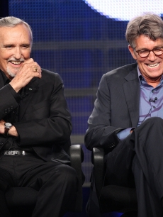 Dennis Hopper and Eric Roberts share a laugh on stage during the Television Critics Association Press Tour in Pasadena, California on July 29, 2009