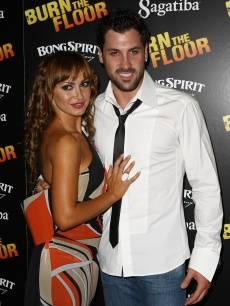 Maksim Chmerkovskiy and Karina Smirnoff ste out at the after party for the Broadway opening night for 'Burn The Floor' at Providence on August 2, 2009 in New York City