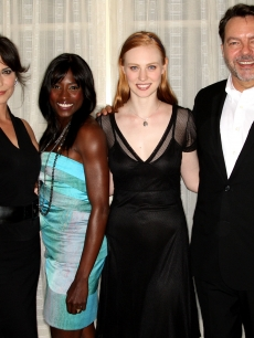 'True Blood' stars Michelle Forbes, Rutina Wesley, Deborah Ann Woll and creator Alan Ball strike a pose during the 2009 Summer Television Critics Association press tour in Pasadena, California July 30, 2009