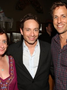 'SNL' alums Rachel Dratch, Chris Kattan strike a pose with current 'SNL' head writer Seth Meyers during the after party for the premiere of 'Bollywood Hero' in New York City on August 4, 2009