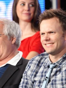 'Community' stars Chevy Chase and Joel McHale share a laugh during the 2009 Summer Television Critics Association press tour in Pasadena, California on August 5, 2009