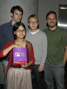 Bill Hader, Charlyne Yi, director Nicholas Jasenovec and Jake M. Johnson strike a pose at the New York screening of 'Paper Heart' on August 5, 2009