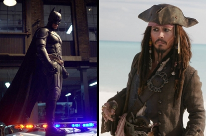 Christian Bale in 'The Dark Knight' and Johnny Depp in 'Pirates of the Caribbean - At World's End'